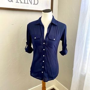 Max Studio Navy Blue Button Down Blouse